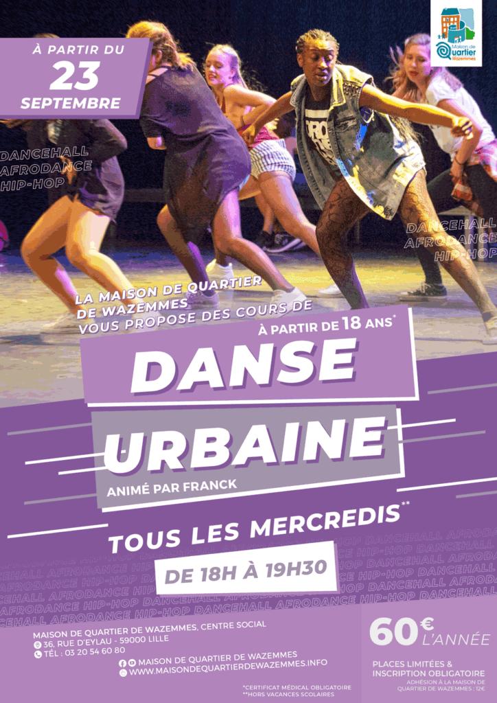 affiche des cours de danse urbaine à la maison de quartier de wazemmes